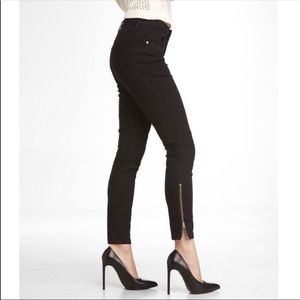 Express High Rise Ankle Zipper Black Legging Pant